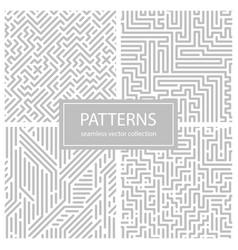 collection of striped seamless geometric patterns vector image