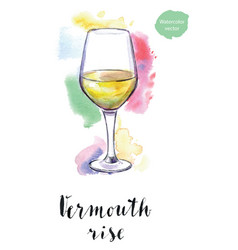 Wineglass of vermouth rise vector