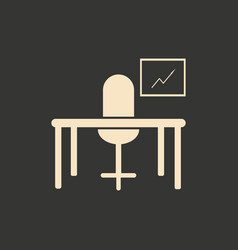 flat in black and white table chair workplace vector image