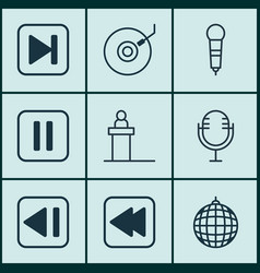 Set of 9 audio icons includes dance club vector