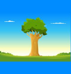 oak in spring field vector image