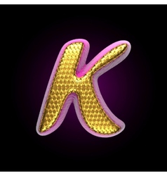 Golden and pink letter k vector