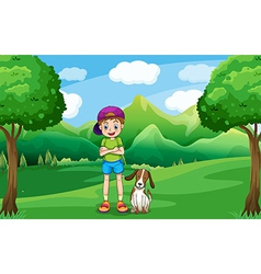 A young boy standing in the middle of the trees vector