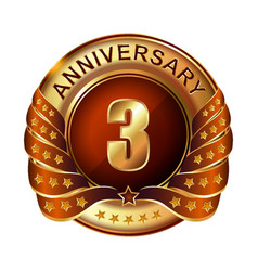3 years anniversary golden label with ribbon vector image