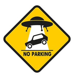 Road sign ufo abduction car vector