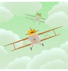 Flat cat pilot in airplane vector