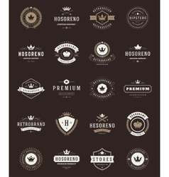 Retro vintage premium quality labels and crowns vector