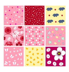 Seamless baby patterns - fabrics vector