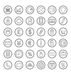 Finance and banking linear icons set vector