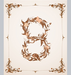 retro vintage letter number in a frame vector image