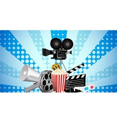 Cinematograph in cinema films and popcorn vector