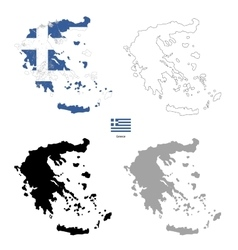 Greece country black silhouette and with flag on vector