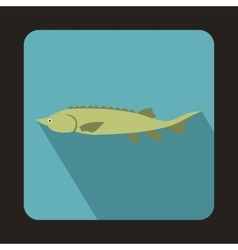Fresh sturgeon fish icon flat style vector