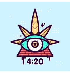 All seeing eye cannabis leaf triangle vector