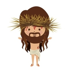 Avatar jesus christ with crown thorns and bood vector