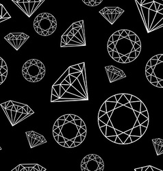 Black and White Seamless Pattern with Diamonds vector image vector image