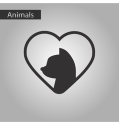 Black and white style icon cat heart vector