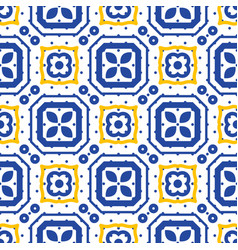 Blue and white mediterranean seamless ceramic tile vector