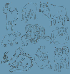 bull-cat-dog-goat-dragon-pig-rat-sheep-tiger vector image