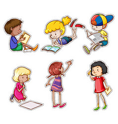 Children reading and writing vector