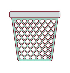 Colorful graphic of office trash can with dark red vector