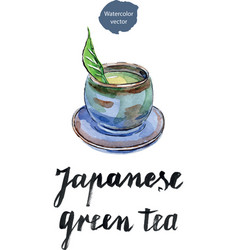 Cup of japanese green tea with green leaf vector