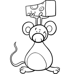cute mouse with cheese coloring page vector image vector image