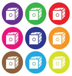dice icon color set vector image vector image