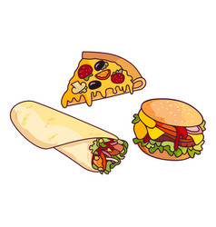 Doner kebab burger pizza slice set vector