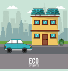 Eco lifestyle home house car transport city vector
