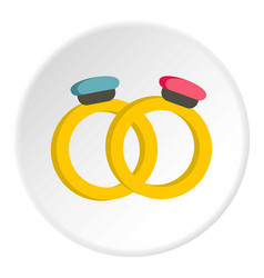 Engagement rings icon circle vector