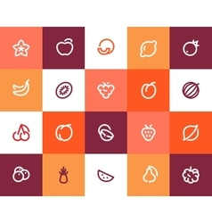 Fruits icons Flat style vector image vector image
