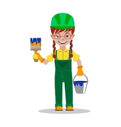 Girl builder character vector image vector image