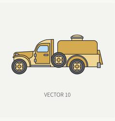 Line flat color icon service staff vector