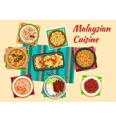 Malaysian cuisine traditional dinner icon vector