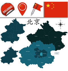 map of beijing with districts vector image vector image