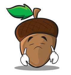 sad acorn cartoon character style vector image