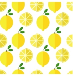 Seamless lemon pattern on white background vector image