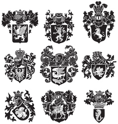 set of heraldic silhouettes No3 vector image vector image