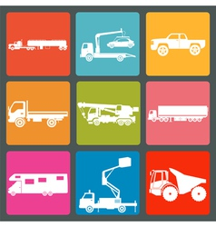 Set of nine icons of trucks vector