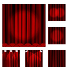 Set of red curtains to theater stage vector image