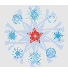 Snowflakes and christmas star vector