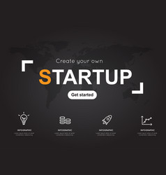startup icons with world black map for business vector image vector image