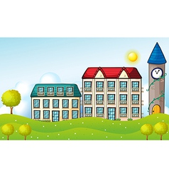 Two dormitories across the hill vector