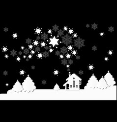 Winter landscape with houses winter christmas vector