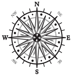 Black wind compass vector