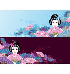 Japanese horizontal geisha background vector