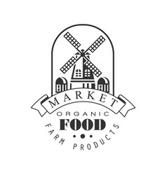 Market organic food farm products logo vector