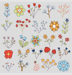 20 isolated flowers doodle set vector image