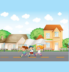 Kids outside the big houses with an empty banner vector